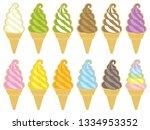 set of various ice cream scoops.... | Shutterstock .eps vector #1334953352