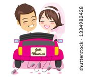 back view of happy just married ... | Shutterstock .eps vector #1334982428