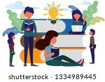man and woman sitting front big ... | Shutterstock .eps vector #1334989445
