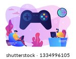 tiny people gamers playing... | Shutterstock .eps vector #1334996105