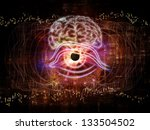 Interplay of outlines of human head, technological and fractal elements on the subject of artificial intelligence, computer science and future technologies - stock photo