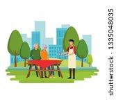 faceless grandparents barbecue... | Shutterstock .eps vector #1335048035