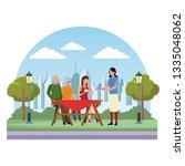faceless family eating outdoor...   Shutterstock .eps vector #1335048062