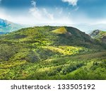 green mountain covered with... | Shutterstock . vector #133505192
