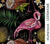 embroidery flamingo   palm tree ... | Shutterstock .eps vector #1335064268
