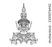 giant guardian statue thailand... | Shutterstock .eps vector #1335076442