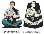 stock illustration. meditating... | Shutterstock .eps vector #1335089528