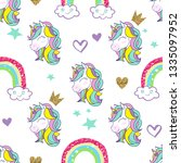 cute unicorn and rainbow vector ...   Shutterstock .eps vector #1335097952