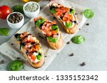 tomato and cheese fresh made... | Shutterstock . vector #1335152342