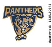 panthers in shield mascot logo  | Shutterstock .eps vector #1335190898