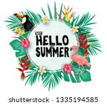 tropical hello summer poster... | Shutterstock .eps vector #1335194585