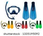 mask  snorkel and fins 3d... | Shutterstock .eps vector #1335195092