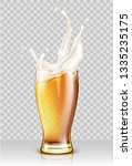 glass with splashing beer... | Shutterstock .eps vector #1335235175