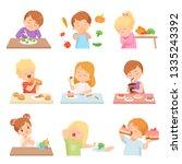 children do not like vegetables ... | Shutterstock .eps vector #1335243392