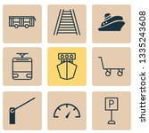 shipping icons set with tram ... | Shutterstock .eps vector #1335243608