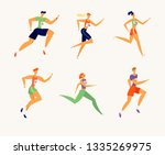 happy athlete people characters ... | Shutterstock .eps vector #1335269975