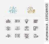 lightning icons set. led bulb...