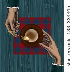 coffee concept. female hands... | Shutterstock . vector #1335334445