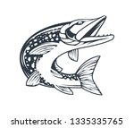 pike fish in motion with open... | Shutterstock .eps vector #1335335765