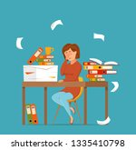 woman busy tired working on... | Shutterstock .eps vector #1335410798