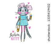 fashion kawaii kitty. vector... | Shutterstock .eps vector #1335419432