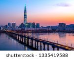 han river twilight time at... | Shutterstock . vector #1335419588