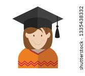 graduate student icon. flat... | Shutterstock .eps vector #1335438332