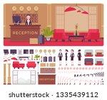 hotel female receptionist in... | Shutterstock .eps vector #1335439112