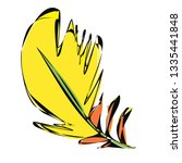 yellow bird feather | Shutterstock .eps vector #1335441848