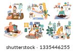 set of women enjoying their... | Shutterstock .eps vector #1335446255