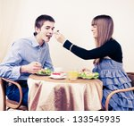 young couple enjoying meal... | Shutterstock . vector #133545935