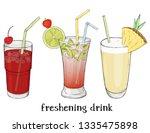 set of three refreshing summer...   Shutterstock .eps vector #1335475898
