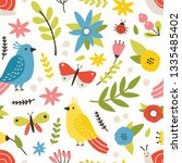 floral seamless pattern with... | Shutterstock .eps vector #1335485402