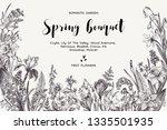 spring bouquet. vintage vector... | Shutterstock .eps vector #1335501935