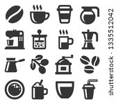 coffee icons set on white...   Shutterstock . vector #1335512042