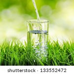 glass of water on nature... | Shutterstock . vector #133552472