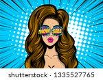 beautiful brunette pop art girl ... | Shutterstock .eps vector #1335527765