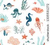 marine life hand drawn flat... | Shutterstock .eps vector #1335531272