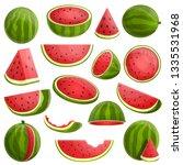 watermelon icons set. cartoon... | Shutterstock .eps vector #1335531968