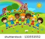 the group of happy preschool... | Shutterstock . vector #133553552