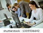 group of young people working... | Shutterstock . vector #1335536642