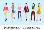 girl group in fashion dress. | Shutterstock .eps vector #1335552782