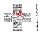 Health care concept made with words drawing a health cross - easy colors change by selecting same fill color