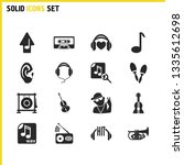 melody icons set with favorite...