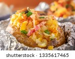baked potato in foil with bacon ...