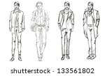 sketch. handsome stylish man... | Shutterstock .eps vector #133561802