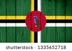 Flag Of Dominica On Wooden...
