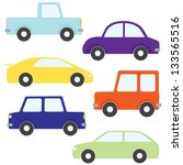 vector set of cartoon cars... | Shutterstock .eps vector #133565516