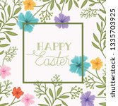 happy easter frame with... | Shutterstock .eps vector #1335703925
