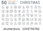 set of line icons of christmas... | Shutterstock . vector #1335750782